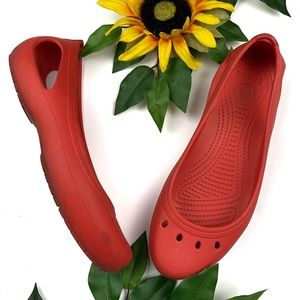 Crocs Kadee Ballet Flats Red Rubber Comfort